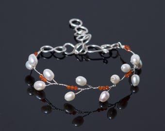 Carnelian Vine Bracelet in sterling silver wire | Delicate freshwater white pearl jewelry | Adjustable bracelet