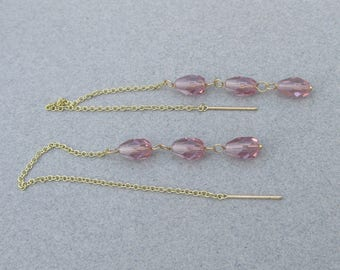 14k Gold & Amethyst LONG Vintage Dangle Threader Earrings