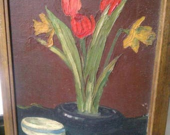 Antique oil painting floral Tulip Daffodil botanical still life impressionist Impasto paintings fresh garden cuttings 19th c. style art