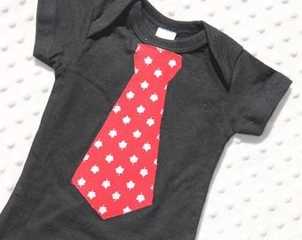 Baby Boy Necktie Bodysuit, Canada Day Baby Boy Outfit, Maple Leaf Neck Tie, Baby Boy Clothes, Baby Boy Sports Clothes