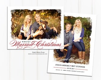 we wish you a married christmas, save our date, marry christmas, wedding, save the date, holiday card, invite, PRINTABLE or PRINTED CARDS