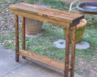 """36"""" Rustic Console Table Extra Narrow 36 Inch Sofa Table Entryway Hallway Foyer Table with Shelf"""