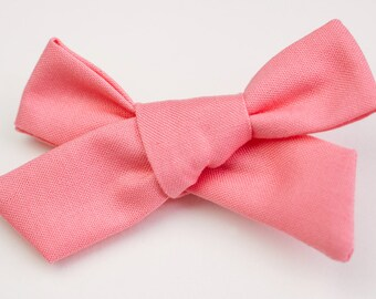 Coral Pink Hand Tied Bow, Alligator Clip, School Girl Bow, Big Girl Bows, Infant Bow, Hair Accessories, Valentine's Day Bow