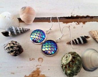 Purple Mermaid/Dragon scales charm earrings  - mermaid fantasy earrings - mermaid ocean jewelry - purple mermaid charms - mermaid gift
