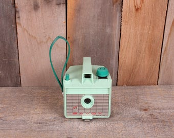 1960s Era Savoy by Imperial Plastic Box Camera with Wrist Strap Rare Green Color