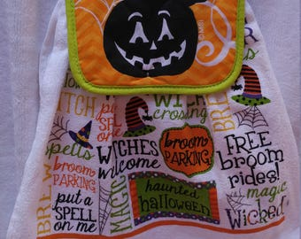 Pumpkins, Witches and Treats O' My Towel with attached Topper
