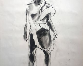 Charcoal Sketch of Woman Wrapped in Paper, One of a kind