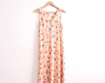 Pink Flower 90s Maxi Dress