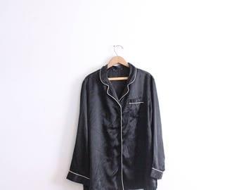 Silky Black Pajama Blouse