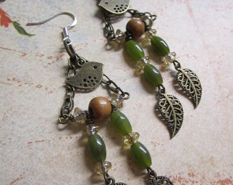 Metal Bird + Leaf Charm Neutral-Toned Beaded Dangle Earrings