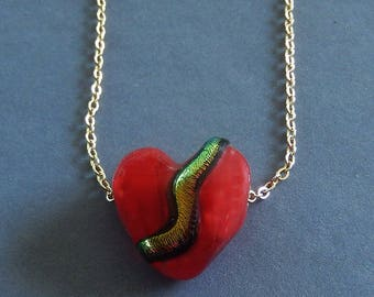 RED HEART  14k GOLD Filled Chain Necklace Handmade  Lampwork  Heart   Dream On Series