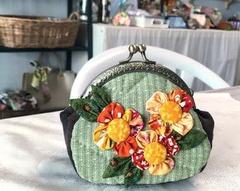 pouch /Coin Purse / Cotton Fabric / Plumeria fabric / Moetaya Belle