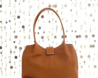 Brown leather shoulder bag, brown leather bag, leather handbag, brown tote, brown leather tote, brown bag, brown leather bag, FREE SHIPPING