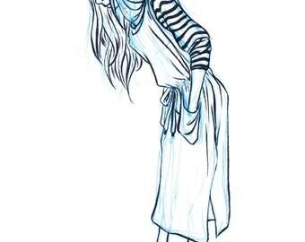 Girl looking Down Fashion Art Print, Original Ink Print, Original Artwork Print, Fashion Print