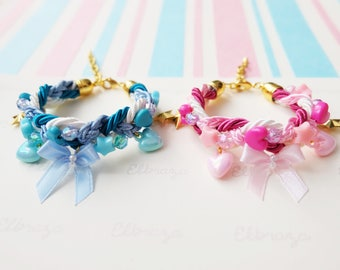 Cutie bow braided bracelet with charms , kawaii bracelets , kawaii jewelry , cute jewelry , pastel bracelet , gift for girl
