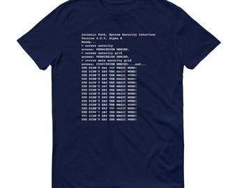 Jurassic Park Security Interface Code Developer 90s Kid Nerd Mens Short-Sleeve T-Shirt
