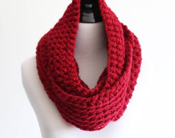 Crochet infinity scarf - The Chicago - in Red - Ready to Ship