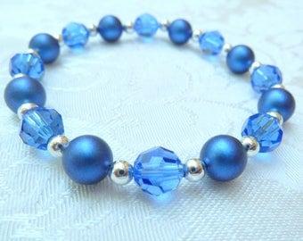 Swarovski Iridescent Blue Pearl Sapphire Crystal Stretch Bracelet- Swarovski Dark Blue Bracelet- Swarovski Bridesmaids Stretch Bracelet- 623