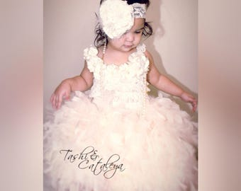 OOAK Ivory Cream lace feather dress satin flowers headband pageant holiday vintage photo prop wedding baby girl toddler tutu birthday rustic