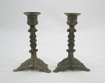 Ornate Brass Candle Holder Pair