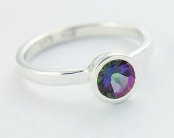 Mystic Topaz Ring Sterling Silver Topaz Unique Engagement Ring Alternative Diamond Ring Made in Your Size Promise Ring