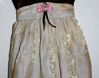 Vintage Youngland Baby Party Dress Brown and Golden with Matching Panties Size 18 Months