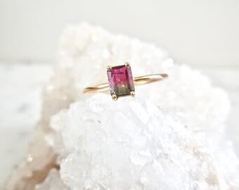 Tourmaline Ring - Watermelon Tourmaline Ring, Handmade, Delicate, 14k Gold, Watermelon Tourmaline, Solitaire Tourmaline Ring, Made to Order