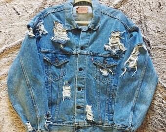 Vintage Levis Distressed Denim Jacket Jean Jacket 90s Medium Wash