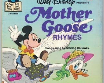 Walt Disney Mother Goose Rhymes Record and 24 Page Book NOS Songs Sung by Sterling Holloway Disneyland Records 33-1/3 RPM