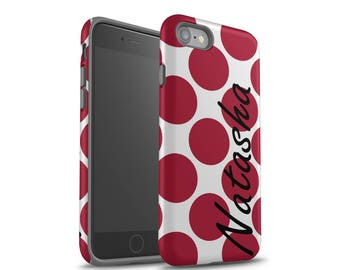 iPhone 7 Case, Galaxy S8 Case, Red Polka Dots, iPhone 7 Plus Case, Personalized Case, iPhone 8 Plus Case, Samsung Galaxy Case S7 Case