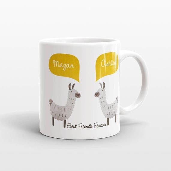Best Friend Gift, Alpaca Llama Mug, Personalized Best Friend Mug, Animal Best Friend Coffee Mug, Unique Friendship Gift Friend Birthday Gift