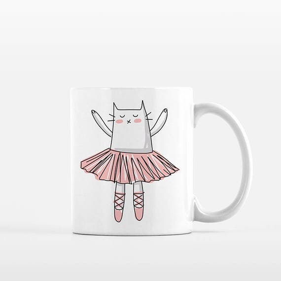 Ballerina Mug Cute Cat Mug Ballet Mug Ballerina Gift Ballet Gift Cute Mug Kids Mug for Girls Mug Cup Cute Coffee Mug Dancer Mug Dancer Gift