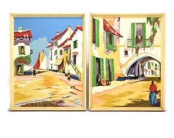 Pair Large Vintage Paint By Number Paintings - Original Artwork - Spanish Latin Mexican Village Town - Red Blue Yellow White - Folk Art