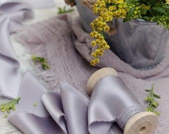 Grey silk ribbon | plant dyed silk ribbon | naturally dyed ribbon | wedding ribbon | invitation ribbon | wedding bouquet