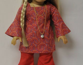 18 inch doll clothes 1970's bell bottoms, top, necklace