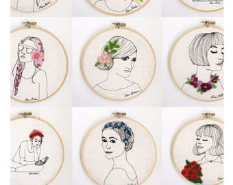 custom Portrait from photo Custom gift for wife personalized gift modern embroidery hoop art gift for women personalized gift embroidery art