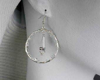 shiny crystal wedding hoop earrings