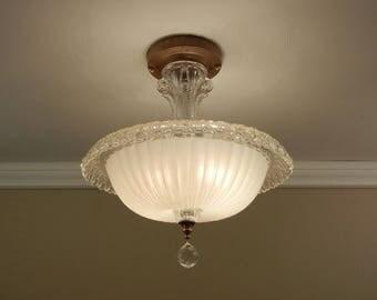 Vintage Ceiling Light 1930s Art Deco Antique Ivory Cream ROLLED RIM Pressed  Glass Semi Flush Mount
