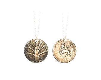 Tree of life Necklace. Etched Coin Necklace. British charm. England charm. British necklace. Tree necklace. Tree of Life Charm. Tree Charm.