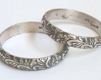 Art Nouveau Wedding Bands - Oxidized Sterling Silver - Leaf Design - Textured Ring - Unisex Rings - Vintage Style Ring - Floral Patterned