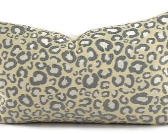 Gray, Ivory & Off White Chenille Cheetah Lumbar Throw Pillow Cover, 12x20