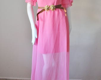 Pink dress, vintage, 1970s, belted, long, puff sleeve, mini, sheer, bridesmaid, lolita, harajuku, boho party dress. XS/S