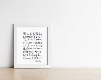 Peter Pan Nursery Art PRINTABLE - When The First Baby Laughed - Baby Shower Gift - Minimalist Nursery - Black And White - SKU#9413