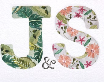 Handmade Bespoke Watercolour Letter Duo - wedding gift or card