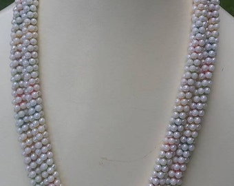 Vintage faux pearls long necklace tubular design