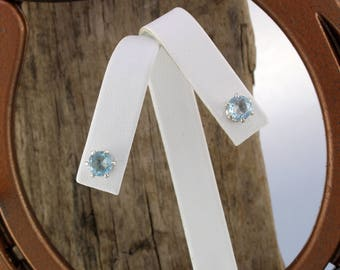Sterling Silver Post Earrings - Natural Aquamarine Stud Earrings - 6mm Natural Aquamarine Stones on Sterling Silver Posts