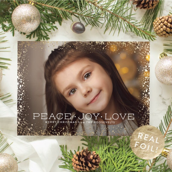 Foil Pressed Christmas Cards, Peace Joy Love Greeting Card with Gold Foil Border, 5x7 Christmas Card, Personalized Holiday Card | Sparkle