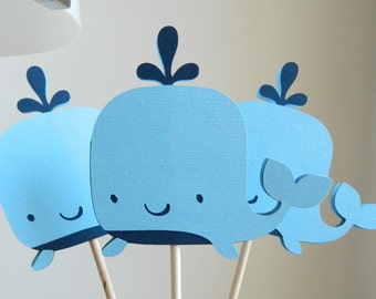 6 Whale Centerpiece Sticks Whale Table Decorations Whale Baby Shower Whale Birthday Party Whale Table Centerpiece Sticks • Set of 6