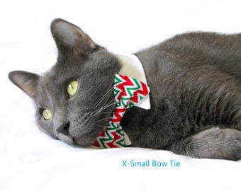 Red and Green Chevron Bow Tie, Necktie, or Bow on a Shirt Style Collar for both Dogs & Cats