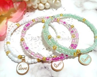 Love Bracelet, Beaded Wire Bangle, Valentines Day, One Size, Pink, Mint, White, Minimalist, Bridal, Custom, Handmade Beaded Jewelry
